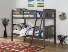 Donco Kids Princeton Slate Grey Twin over Twin Bunk Bed (Assembly Required - Twin over Twin - Silver/Grey - Includes Hardware - Unisex), Kids Unisex, Triple Bunk Beds, Full Bunk Beds, Bunk Beds With Stairs, Kids Bunk Beds, Loft Beds, Bunkbeds For Small Room, Small Rooms, Modern Bunk Beds, Bunk Bed Designs