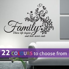 FAMILY where life begins and love never ends quote wall sticker decal art with love birds and tree branches for bedroom, lounge