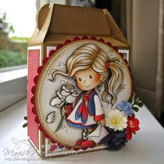 Not a card but actually a small cable box decorated with Polly by Wee Stamps and pretty Wild Orchid Crafts flowers. This was a gift for a sweet neighbor and was filled with chocolates.