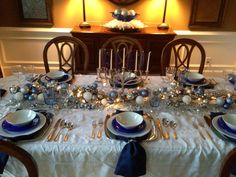 Hanukkah table setting by Tracey Pred