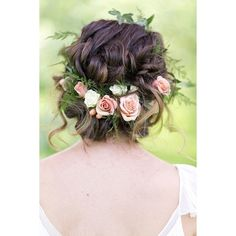 10 Flower Crown Hairstyles for Any Bride ❤ liked on Polyvore featuring home, home decor and hairstyles