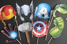 Avengers Photo Props, Birthday Favors, Super Hero, Iron Man, Thor, Captain America, Hulk, Avengers, Avengers Party Decor, Super Hero Props This listing is for 1 Avengers Photo Booth Props One 8 piece Avengers Assemble Photo Prop Kit. These awesome photo props are made of sturdy paper