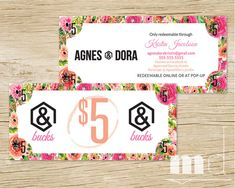 Agnes & Dora Bucks, Moolah, Dollars, Cash Coupon, Voucher, Gift Certificate, Gift Card, A&D printable design for consultants, best Agnes and Dora small business marketing kit by MulliganDesign via Etsy