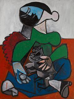 Pablo Picasso, Femme au Chien - 1953 on ArtStack #pablo-picasso #art