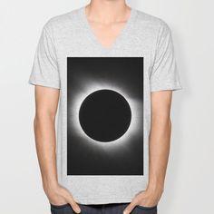 Solar Eclipse Unisex V-Neck by Eclipse T Shirt, Solar Eclipse, V Neck T Shirt, Heather Grey, Unisex, Space, Medium, Women, Floor Space