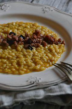 La Cucina di Stagione: Orzotto alla zucca, ragu' di salame fresco e gelatina di balsamico