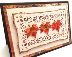 Happy Thanksgiving, Fall Leaves, Thanksgiving Card, Handmade Thanksgiving, Hand Made Thanksgiving, Holiday Card,  Fancy Card, 3D Card