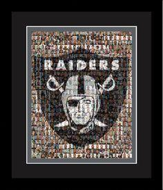 Oakland Raiders Player Mosaic Print Art Design Using 100 Past and Present Raider Player Photos. Handmade by The Mosaic Guy