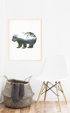 """☆ A Gorgeous Double Exposure Bear. One picture of a bear with a forest view - double exposed.☆  Make your living room look amazing with this print!  Instant download print-ready digital file: A4 8"""" x 11""""  Letter 8.5"""" x 11"""" LANDSCAPE A4 LANDSCAPE Letter Printable Art, Printables, Forest Room, Wall Art Decor, Room Decor, Forest View, Living Room Art, Double Exposure, Bedroom Wall"""