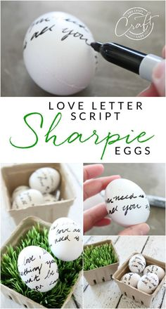 Writing On Easter Eggs: Use A Sharpie Permanent Marker To Write Love Letter Script Or Draw A Pattern On Easter Eggs Simple Easter Egg Decorating Sharpie Eggs, Sharpie Crafts, Easter Crafts For Kids, Crafts To Do, Easter Egg Designs, Diy Ostern, Easter Celebration, Egg Decorating, Decorating Easter Eggs