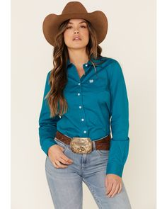 Cinch Women's Teal Solid Button Front Long Sleeve Western Shirt , Teal Country Wear, Country Shirts, Country Outfits, Rodeo Shirts, Western Shirts, Women's Shirts, Western Outfits Women, Rodeo Outfits, Shirt Blouses