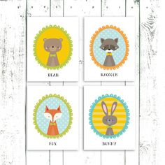 Woodland Nursery Art Set of Four - Bear, Bunny Raccoon and Fox Prints - Forest Nursery Animal Art Prints