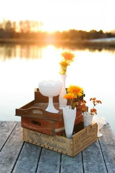 milk glass vases & compotes + vintage soda crates
