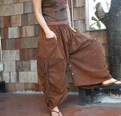Love Me..Love Me Not  (Series II)  - 2 in 1 Stonewashed Rusty Brown Skirt or Pants. $56.00, via Etsy.
