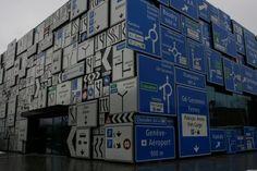 """Sign house"", part of the Swiss Museum of Transport  in Luzern, Switzerland.    Photo by Hansjoerg Schneider."
