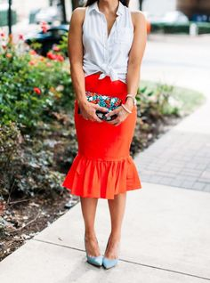 Orange Peplum Skirt l Denim Pumps for only $24 l White Button Down from Target l Fashion Blogger l Anthro Clutch