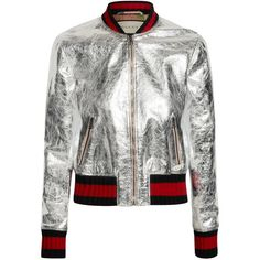 GucciMetallic Leather Bomber Jacket (13 280 PLN) ❤ liked on Polyvore featuring outerwear, jackets, gucci, tops, coats & jackets, silver, gucci jacket, navy flight jacket, red leather jackets and patterned bomber jacket