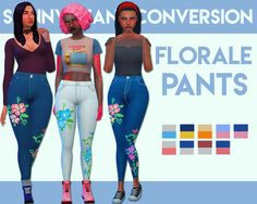 sims 4 mm cc maxis match floral pattern jeans weepingsimmer