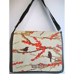 Featuring several pockets for items large and small, this stylish canvas bag from Two Trees Designs is great for everyday use. This messenger bag showcases a fashionable art print of a bird perched on a cherry blossom branch.