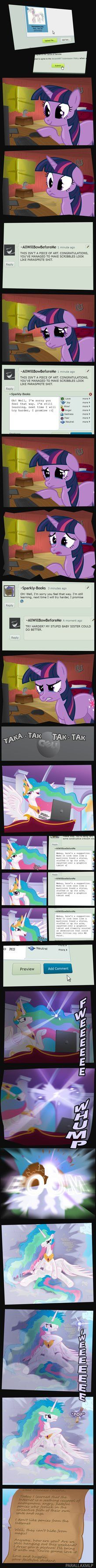 Trollestia trolling deviantArt. Cyber bullying is wrong, Tia. This is I'm gonna go play minecraft with Luna, you jerk.