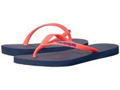 Havaianas - Slim Logo Pop-Up Flip Flops (Navy Blue) Women's Sandals