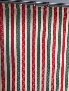 Vintage silk Damask curtains in green and red Regency striped design by MarieVintageStore on Etsy Damask Curtains, Silk Curtains, Vintage Velvet, Striped Fabrics, Stripes Design, Regency, Craft Supplies, Vintage Items, Green