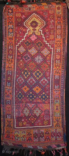 Dazzling Kurdish Drejan Tribe woman's prayer rug from eastern Anatolia between Gaziantep and Malatya. Lustrous wool on a goat hair warp with top and bottom çiçim embroidered kilim guards and bound tassels.  ...