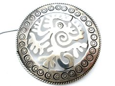 Sterling Silver Taxco Brooch Large Round Vintage Hand Made Circle Pin Mexican