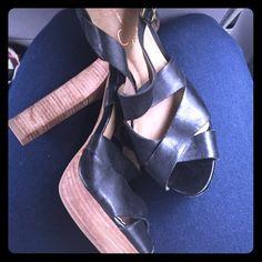 Jessica Simpson heels Good condition black leather and wood heels. Jessica Simpson Shoes Heeled Boots