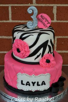 Hot Pink Zebra Cake with Ruffle Flowers