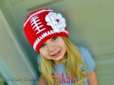 Crochet Nebraska Husker Football Beanie w/Flower. Suppose boy version would have no flower?