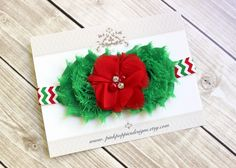 Christmas Headband, Red and Green Flower Headband, Chevron Headband,  Baby Christmas Headband - Christmas Hair Bow by PinkPoppiesDesigns on Etsy https://www.etsy.com/listing/206794131/christmas-headband-red-and-green-flower