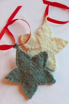 I'm knitting these cute stars for Christmas and they are so much fun.  They are a free downloadable pattern from Webs.  I can see making these in all kinds of colors. The pattern calls for sp…