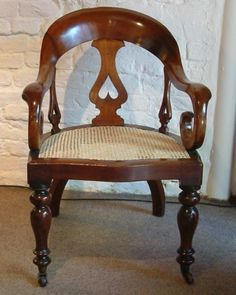 A Mahogany Back-splat Desk Armchair Desk Chair, Armchair, Victorian, Antiques, Crafts, Furniture, Home Decor, Chairs, Woodworking