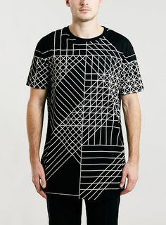 LUX BLACK GEO PRINT LONGER LENGTH T-SHIRT - Printed T-shirts - Men's T-Shirts & Vests - Clothing- TOPMAN EUROPE