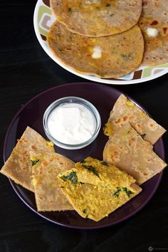 """A healthy dish from the famous Punjabi cuisine. """"Gobi Paratha"""" - An Indian Flatbread made from whole wheat flour and has a yummy cauliflower filling."""