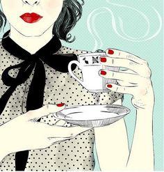 Pop art girl illustration red lips 21 new Ideas Art And Illustration, Illustrations, Coffee Illustration, Pop Art, Arte Pop, I Love Coffee, Coffee Art, Coffee Break, Morning Coffee