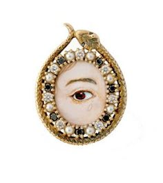 An antiqued gold, diamond and pearl ring in the form of a snake, symbol of eternity, enclosing a Georgian-inspired lover's eye painting.
