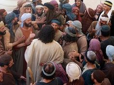 Jesus forgives and heals a paralysed man :: A paralysed man's friends make a gap in the roof to lower him to Jesus (Mark Luke Jesus Forgives, Large Crowd, Jesus Quotes, Religious Art, Christ, Bible, Healing, Character Reference, Sea