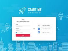 Login Page - Start.me by Fahrizal Bimantara Login Page Design, Ios App Design, Website Design Layout, Dashboard Design, Web Layout, Ux Design, Login Website, Ui Forms, Login Form
