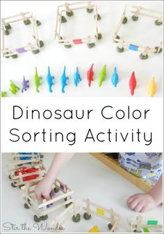 This Dinosaur Color Sorting Activity is a hands-on learning activity that will get your preschooler sorting and recognizing different colors!
