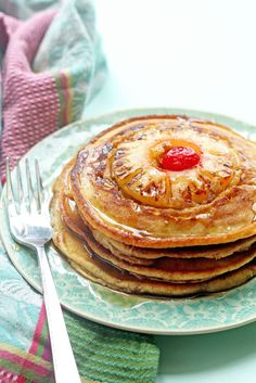 Delicious Pineapple Upside Down Pancakes! Enjoy the classic cake for BREAKFAST instead! ~ http://www.grandbaby-cakes.com