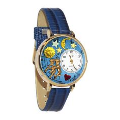 Women's Whimsical Watches Gemini Watch (£24) ❤ liked on Polyvore featuring jewelry, watches, gold, jewelry & watches, women's watches, quartz movement watches, water resistant watches, charm watches, buckle jewelry and leather-strap watches