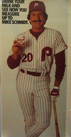 Mike Schmidt Philadelphia #Phillies Milk Growth Chart 1980's Poster Never Opened from $90.0
