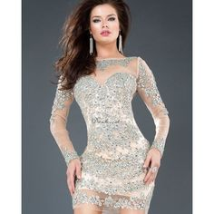 Champagne Long Sleeve Short Prom Dress With Embroidery Crystal