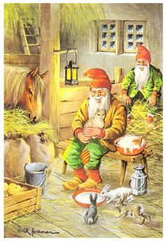 Erik Forsman, Christmas card 10 x Finland Swedish Christmas, Scandinavian Christmas, Christmas Elf, Vintage Christmas, Christmas Images, Kobold, Elves And Fairies, Beautiful Forest, Christmas Illustration