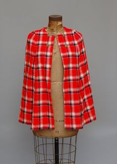 Vintage Red Plaid Cape / Womens / Fall / Winter Women's Coats, Red Plaid, Coats For Women, Rap, Charlotte, Fall Winter, Blazer, Sewing, Jackets