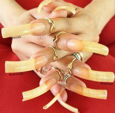 Long Natural Nails, Long Nails, Curved Nails, Sexy Nails, Gold, Jewelry, Cute Nails, Jewlery, Jewerly