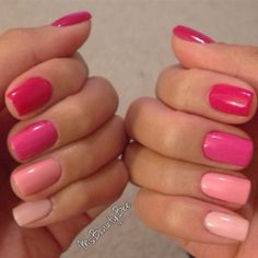 Pink Ombre Nails  Base Colors: Gelish Less Talk (Thumb), Gelish Gossip Girl (Index), Shellac Hot Pop Pink (Middle), Gelish Take Action (Ring), Gelish Pink Smoothie (Pinky)