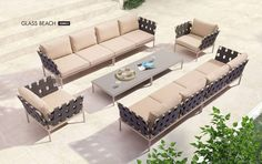 Glass Beach Vive Taupe Fabric Metal Outdoor Patio 46pc Seating Set